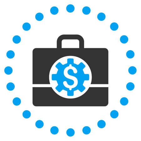 the case selected: Bank Career Options vector icon. Style is bicolor flat circled symbol, blue and gray colors, rounded angles, white background.