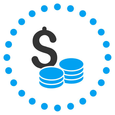 price gain: Dollar Cash vector icon. Style is bicolor flat circled symbol, blue and gray colors, rounded angles, white background.