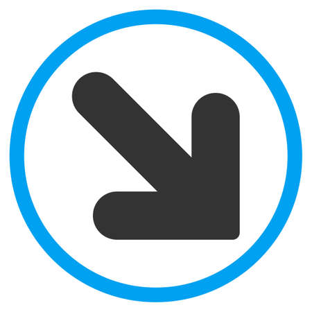 circled: Arrow Down Right glyph icon. Style is bicolor flat circled symbol, blue and gray colors, rounded angles, white background. Stock Photo