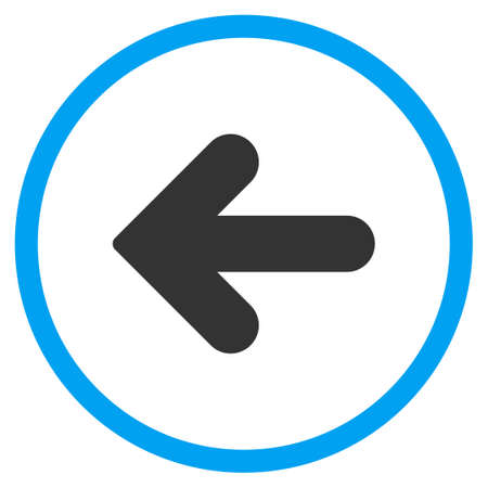 circled: Arrow Left glyph icon. Style is bicolor flat circled symbol, blue and gray colors, rounded angles, white background. Stock Photo