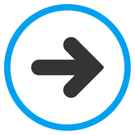 propel: Arrow Right glyph icon. Style is bicolor flat circled symbol, blue and gray colors, rounded angles, white background.