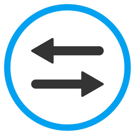 inverse: Arrows Exchange Horizontal glyph icon. Style is bicolor flat circled symbol, blue and gray colors, rounded angles, white background.