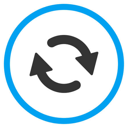 Refresh glyph icon. Style is bicolor flat circled symbol, blue and gray colors, rounded angles, white background.
