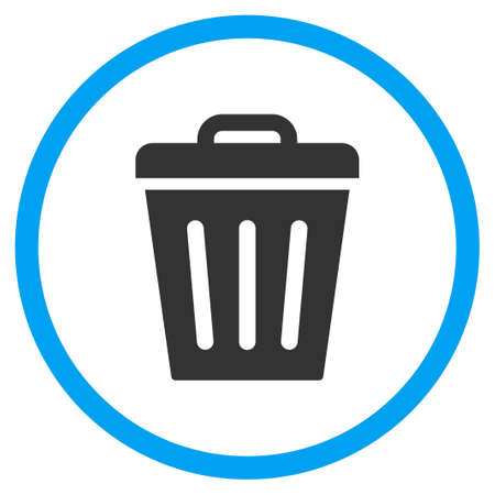 dustbin: Dustbin glyph icon. Style is bicolor flat circled symbol, blue and gray colors, rounded angles, white background.