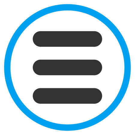 item list: Stack glyph icon. Style is bicolor flat circled symbol, blue and gray colors, rounded angles, white background.