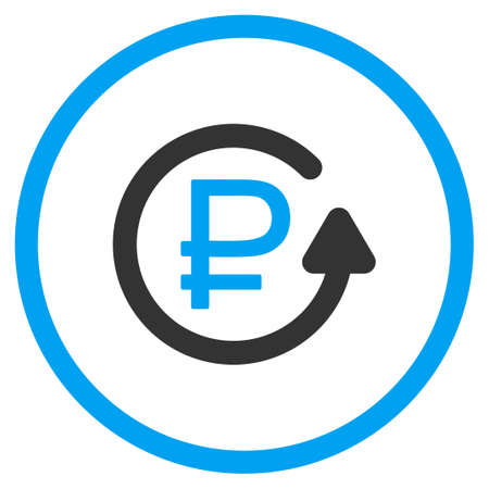 back rub: Rouble Chargeback glyph icon. Style is bicolor flat circled symbol, blue and gray colors, rounded angles, white background.