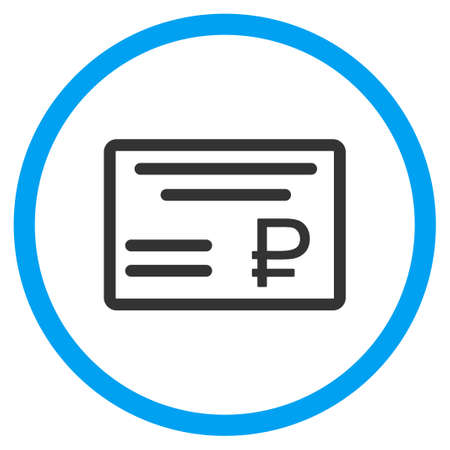 chequebook: Rouble Cheque glyph icon. Style is bicolor flat circled symbol, blue and gray colors, rounded angles, white background. Stock Photo