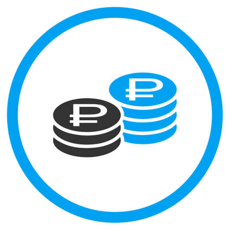 circled: Rouble Coin Stacks glyph icon. Style is bicolor flat circled symbol, blue and gray colors, rounded angles, white background.