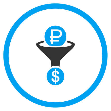 stricture: Rouble Currency Conversion glyph icon. Style is bicolor flat circled symbol, blue and gray colors, rounded angles, white background.