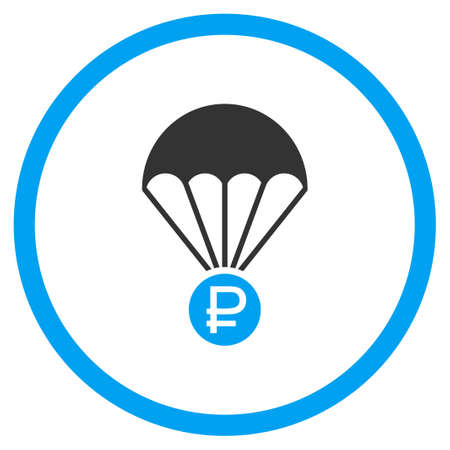 diving save: Rouble Rescue glyph icon. Style is bicolor flat circled symbol, blue and gray colors, rounded angles, white background.