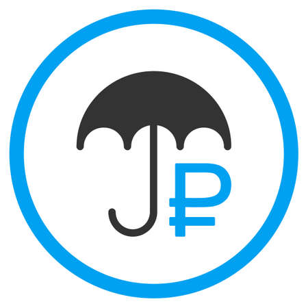 circled: Rouble Umbrella glyph icon. Style is bicolor flat circled symbol, blue and gray colors, rounded angles, white background.
