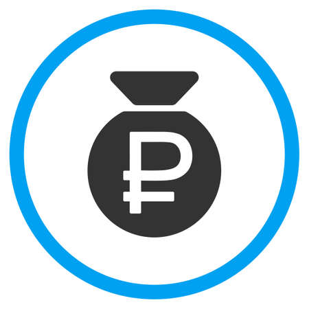 white fund: Rouble Fund glyph icon. Style is bicolor flat circled symbol, blue and gray colors, rounded angles, white background. Stock Photo
