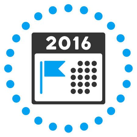 flagged: 2016 Holiday Plan vector icon. Style is bicolor flat symbol surrounded by dotted circle, blue and gray colors, white background.