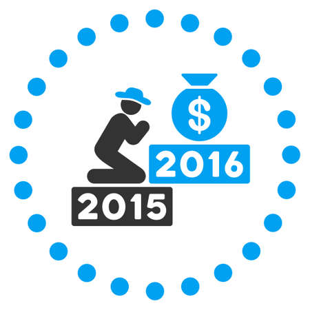 price gain: Pray For Money 2016 vector icon. Style is bicolor flat symbol surrounded by dotted circle, blue and gray colors, white background.