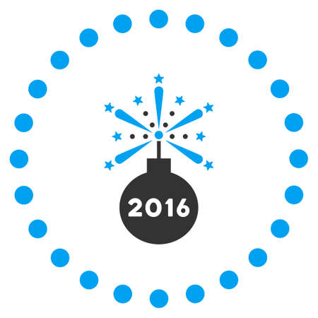 detonator: 2016 Fireworks Detonator glyph icon. Style is bicolor flat symbol surrounded by dotted circle, blue and gray colors, white background.