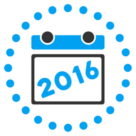 syllabus: 2016 Syllabus glyph icon. Style is bicolor flat symbol surrounded by dotted circle, blue and gray colors, white background.