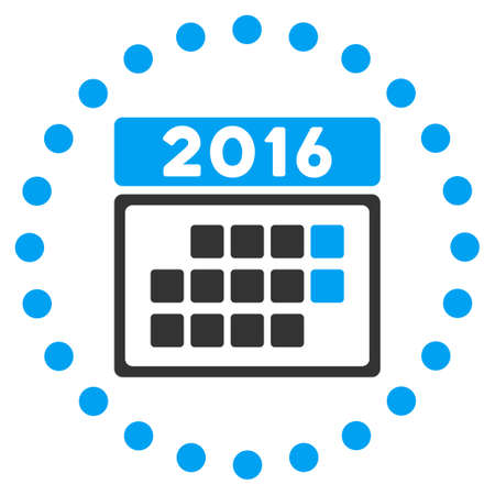 syllabus: 2016 Month Syllabus glyph icon. Style is bicolor flat symbol surrounded by dotted circle, blue and gray colors, white background. Stock Photo