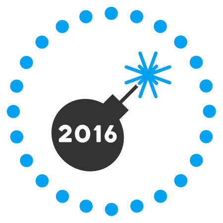 petard: 2016 Petard glyph icon. Style is bicolor flat symbol surrounded by dotted circle, blue and gray colors, white background. Stock Photo