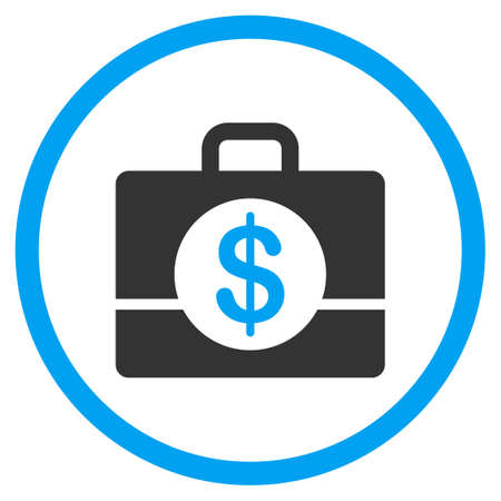 the case selected: Accounting vector icon. Style is bicolor flat circled symbol, blue and gray colors, rounded angles, white background.