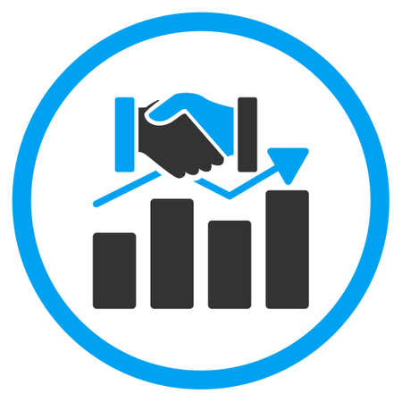 acquisition: Acquisition Graph vector icon. Style is bicolor flat circled symbol, blue and gray colors, rounded angles, white background.