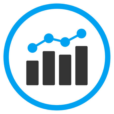 Analytics vector icon. Style is bicolor flat circled symbol, blue and gray colors, rounded angles, white background.