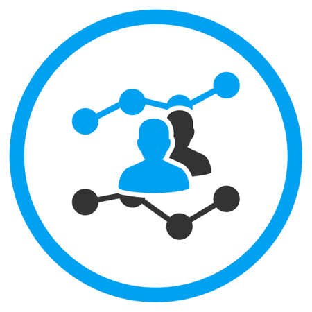 friend chart: Audience Trends vector icon. Style is bicolor flat circled symbol, blue and gray colors, rounded angles, white background.