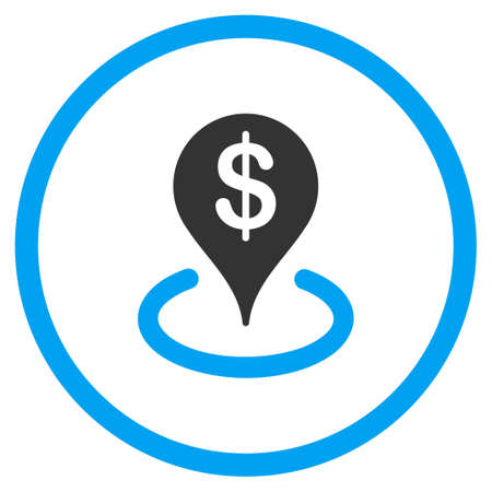 financial position: Geo Targeting vector icon. Style is bicolor flat circled symbol, blue and gray colors, rounded angles, white background.