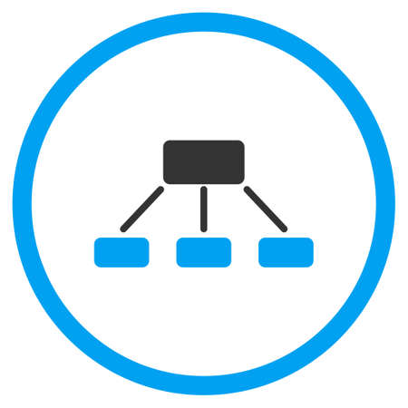 hierarchy: Hierarchy vector icon. Style is bicolor flat circled symbol, blue and gray colors, rounded angles, white background.