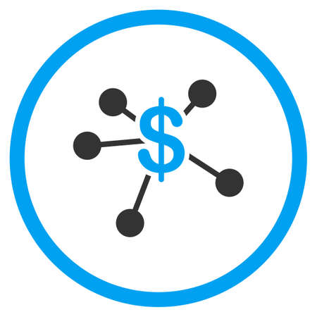 emission: Money Emission vector icon. Style is bicolor flat circled symbol, blue and gray colors, rounded angles, white background. Illustration