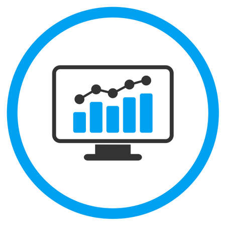 statistics icon: Monitoring vector icon. Style is bicolor flat circled symbol, blue and gray colors, rounded angles, white background.