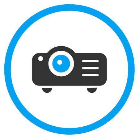 round button: Projector vector icon. Style is bicolor flat circled symbol, blue and gray colors, rounded angles, white background.