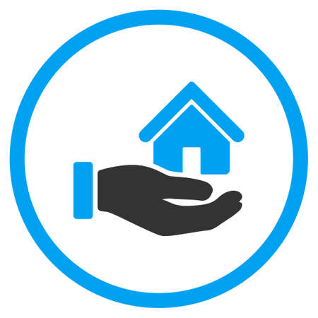 give and take: Real Estate vector icon. Style is bicolor flat circled symbol, blue and gray colors, rounded angles, white background.