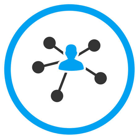 friend chart: Relations vector icon. Style is bicolor flat circled symbol, blue and gray colors, rounded angles, white background.