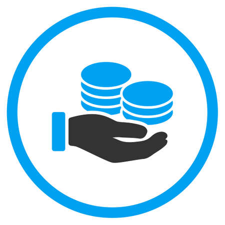salaries: Salary vector icon. Style is bicolor flat circled symbol, blue and gray colors, rounded angles, white background.