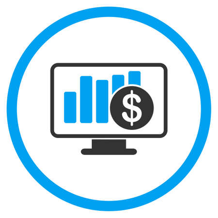 bar graph: Sales Monitor vector icon. Style is bicolor flat circled symbol, blue and gray colors, rounded angles, white background.