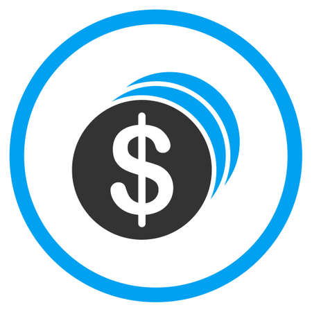 dollar coins: Dollar Coins glyph icon. Style is bicolor flat circled symbol, blue and gray colors, rounded angles, white background.