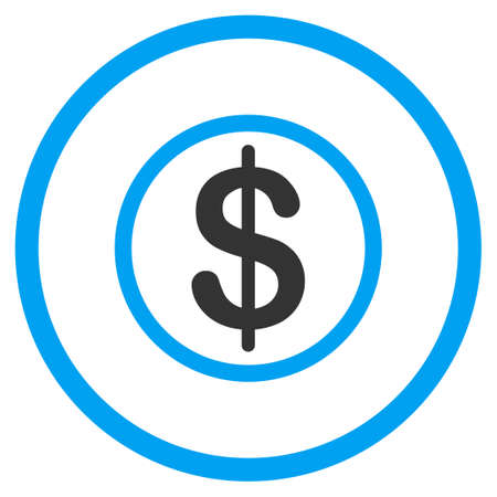 money symbol: Money glyph icon. Style is bicolor flat circled symbol, blue and gray colors, rounded angles, white background.