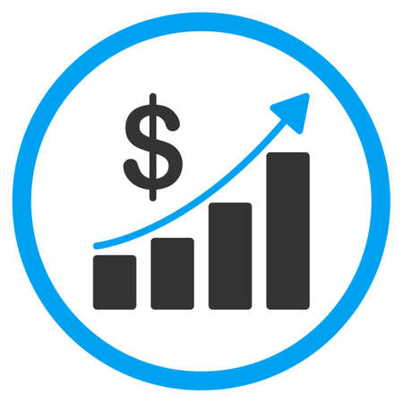 circled: Sales Growth glyph icon. Style is bicolor flat circled symbol, blue and gray colors, rounded angles, white background.