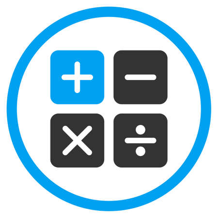 numerator: Calculator glyph icon. Style is bicolor flat circled symbol, blue and gray colors, rounded angles, white background.