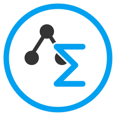 analytical: Analytical Formula glyph icon. Style is bicolor flat symbol, blue and gray colors, rounded angles, white background.