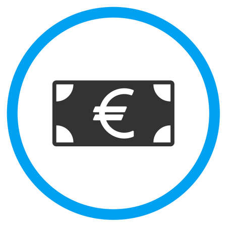 banknote: Euro Banknote glyph icon. Style is bicolor flat circled symbol, blue and gray colors, rounded angles, white background.