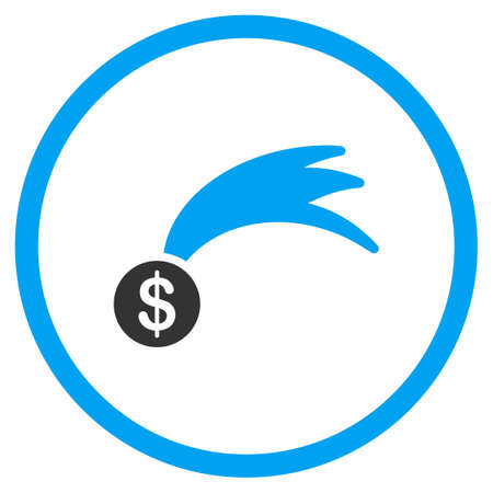 jack pot: Falling Lucky Money glyph icon. Style is bicolor flat circled symbol, blue and gray colors, rounded angles, white background. Stock Photo