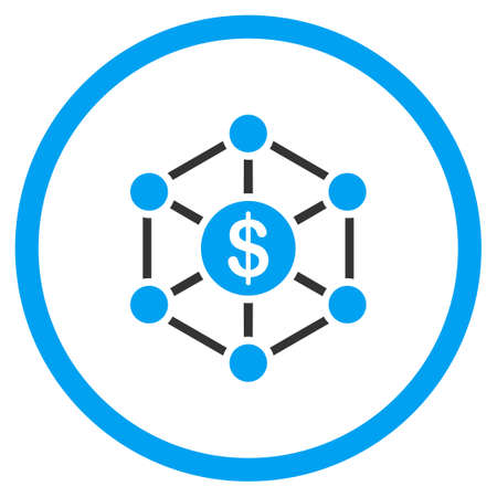 distribute: Financial Scheme glyph icon. Style is bicolor flat circled symbol, blue and gray colors, rounded angles, white background. Stock Photo