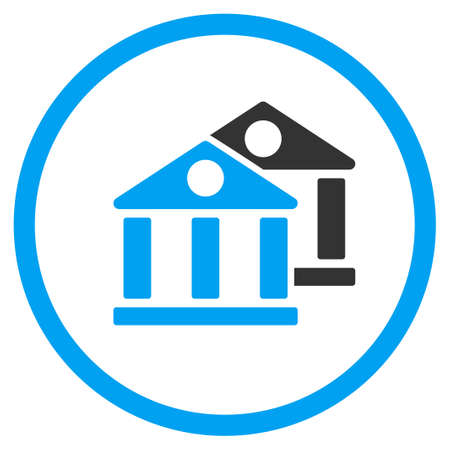 burg: Banks vector icon. Style is bicolor flat circled symbol, blue and gray colors, rounded angles, white background. Illustration