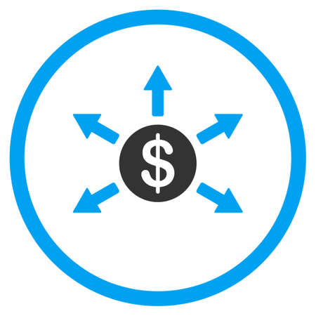 bank branch: Cashout vector icon. Style is bicolor flat circled symbol, blue and gray colors, rounded angles, white background.