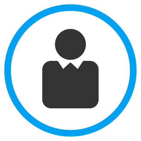 persona: Client vector icon. Style is bicolor flat circled symbol, blue and gray colors, rounded angles, white background.