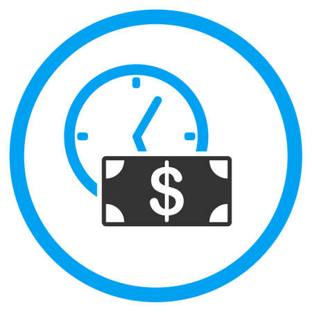 tax time: Credit vector icon. Style is bicolor flat symbol, blue and gray colors, rounded angles, white background. Illustration