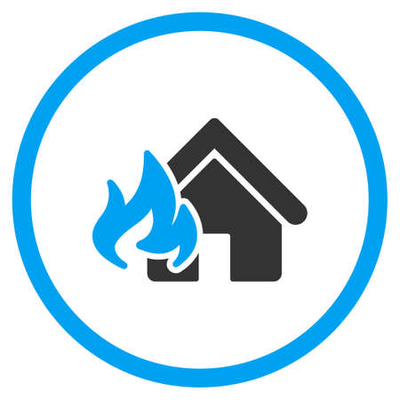fire damage: Home Fire Damage vector icon. Style is bicolor flat symbol, blue and gray colors, rounded angles, white background.