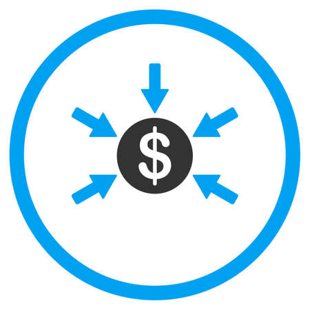 accretion: Income vector icon. Style is bicolor flat circled symbol, blue and gray colors, rounded angles, white background.