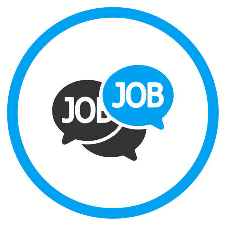 labor market: Labor Market vector icon. Style is bicolor flat circled symbol, blue and gray colors, rounded angles, white background. Illustration
